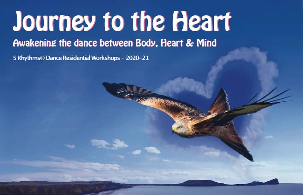 Journey to the Heart workshop banner - red kite flying over rhossili